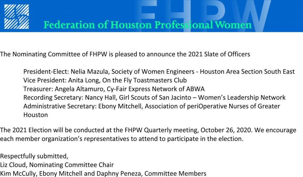 2021 Slate of Officers FHPW
